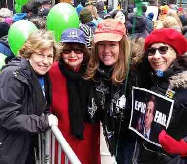 Randi Weingarten with New York ralliers
